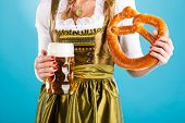 pic of stein  - Young woman in traditional Bavarian clothes  - JPG