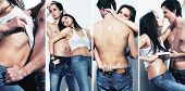 image of topless  - Collage of a sexy girl and topless guy together - JPG