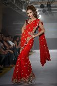 CHENNAI - JULY 21: A model walks on the ramp showcasing designer Anuradhaa Bisani work during the Ch
