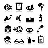 stock photo of snellen chart  - Optometry icons - JPG