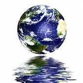 image of planet earth  - planet earth reflected on top of water high resolution image - JPG