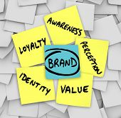 stock photo of loyalty  - The principicles of brand and branding written on sticky notes  - JPG