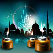 stock photo of pelita  - Oil Lamps on Mosque Silhouettes Background Translation of Jawi Text - JPG