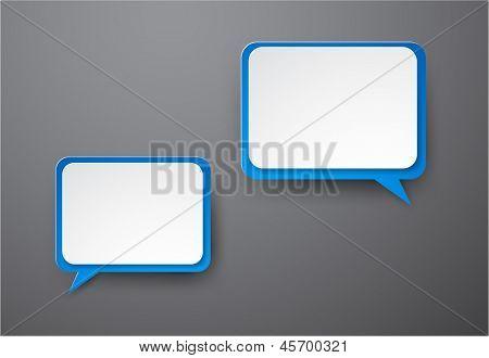 Ilustración de vector de burbujas de discurso rectangular de papel blanco y azul. Eps10.