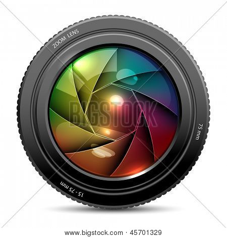 illustration of colorful camera shutter on white background