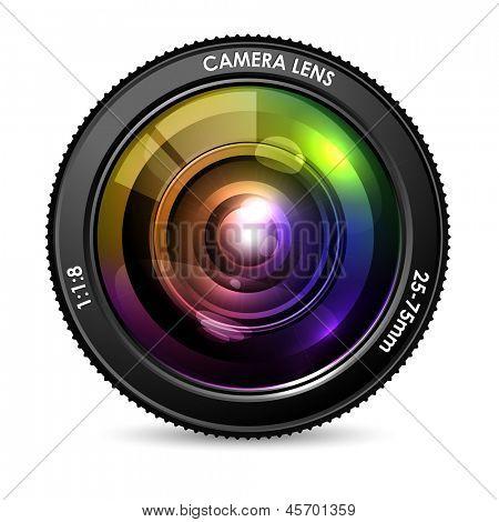 Ilustración de la lente de la cámara colores sobre fondo blanco