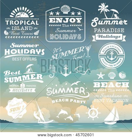Vintage summer typography design with labels, icons elements collection
