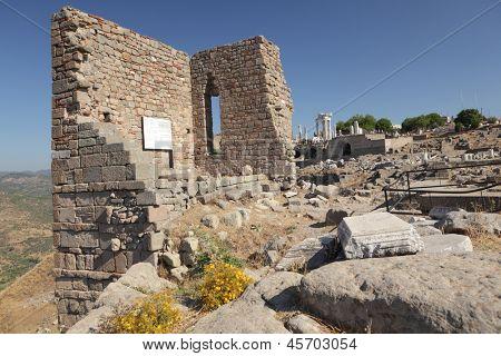 Ancient ruins of the Sanctuary of Athena in Pergamon, now Bergama, Turkey