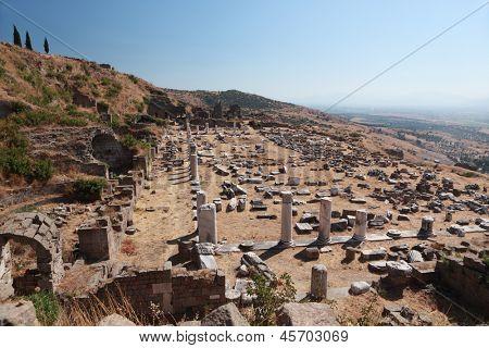 Ancient ruins of Upper Gymnasium in Pergamon, now Bergama, Turkey