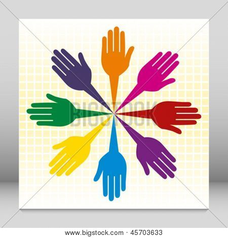 Colorful united loving hands design.