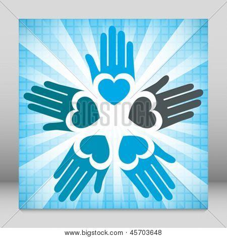 Colorful united loving hands design.