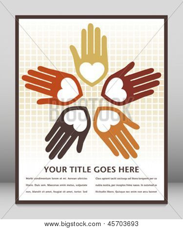 Colorful united loving hands design with text space.