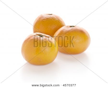 Bright Mandarins In White Background