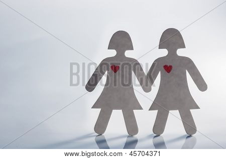 bisexual couple from paper closeup