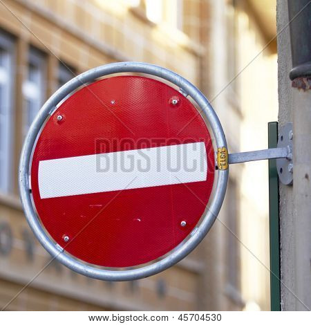 stop road sign on street