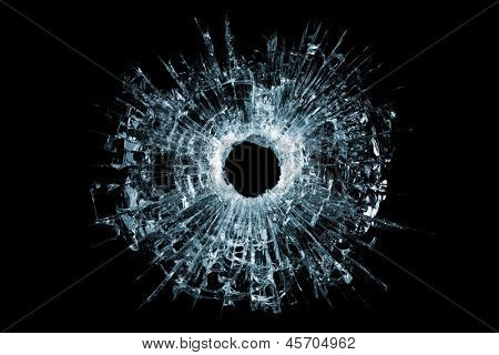 bullet hole in glass - authentic gunshot - closeup isolated on white