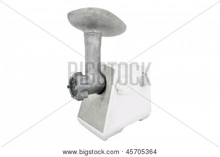 Modern electric meat grinder under the white backgound
