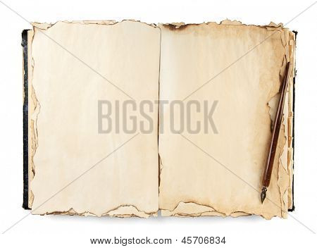 Open old book and ink pen isolated on white