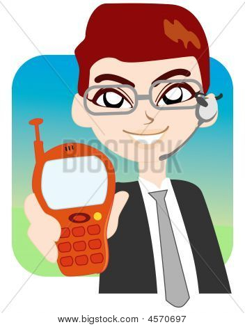 Businessman Show His Phone