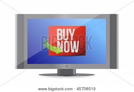 Buy Now Sign On A Monitor. Illustration Design