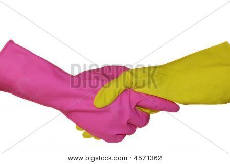 ein Handshake ist in sanitären Handschuhe