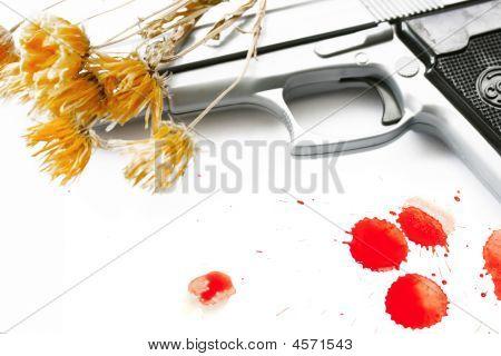 Hand Gun & Flowers