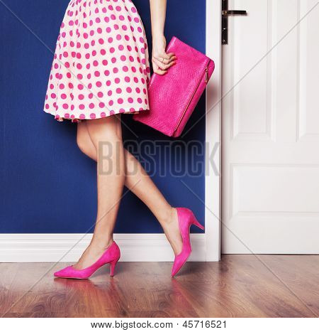 Walking out concept, girl dressed in pink