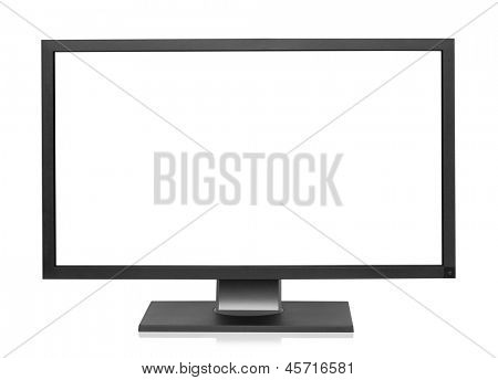Computer display with blank white screen, isolated on the white background, clipping path included.