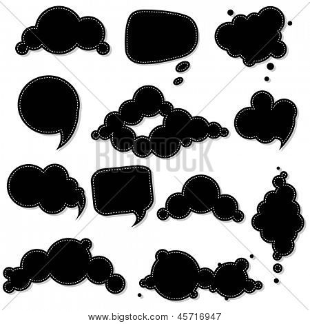 Black Speech Bubble, Isolated On White Background