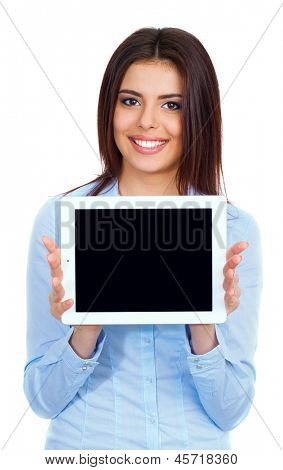 woman showing tablet screen smiling isolated on white background.