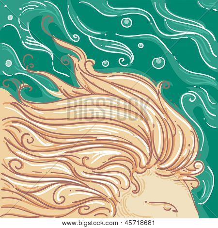 Illustration of Lion's Mane for Leo Horoscope Design