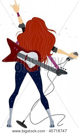 Illustration showing Back View of a Rockstar Teenage Girl