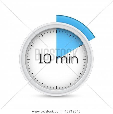 Ten minutes stopwatch timer. Vector illustration.