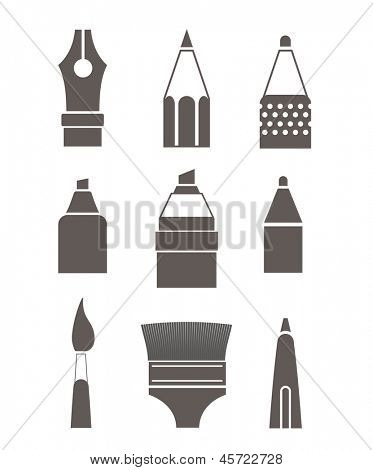 Paint and writing tools silhouettes collection isolated on white