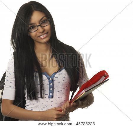 Young college school student smiling happily carrying books and supplies