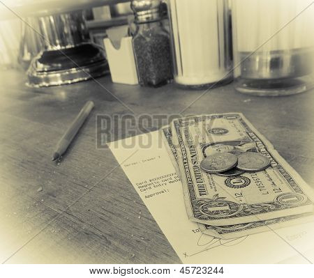 Don't forget to tip!  Art photo - intentional grain and noise with yellow tonality and vignette.
