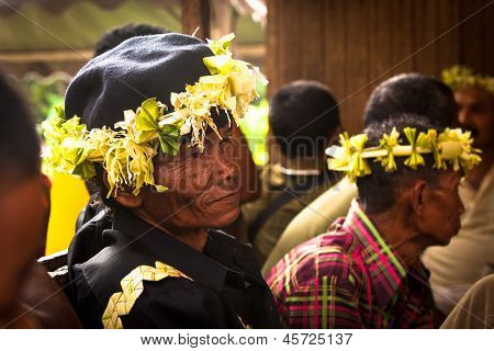 BERDUT, MALAYSIA - APR 8: Unidentified old man Orang Asli in his village on Apr 8, 2013 in Berdut, Malaysia. More than 76% of all Orang Asli live below the poverty line, life expectancy - 53 years old