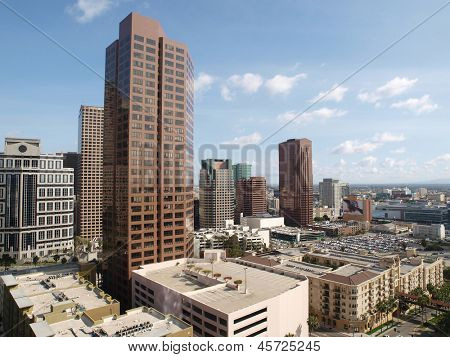 LOS ANGELES, CALIFORNIA - MARCH 30:  Modern office towers in the fast changing South Park area of downtown Los Angeles on March 30, 2010 in Los Angeles, California.