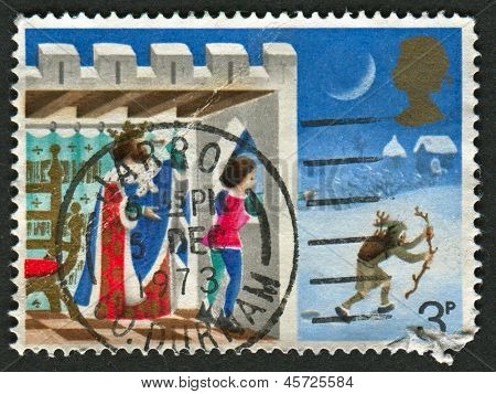 UK - CIRCA 1973: A stamp printed in UK shows image of the Good King Wenceslas, the Page and Peasant, circa 1973.