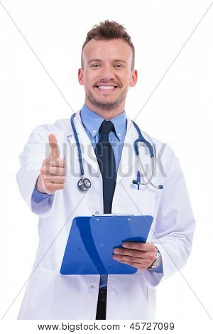 young doctor with good news making the ok thumbs up gesture