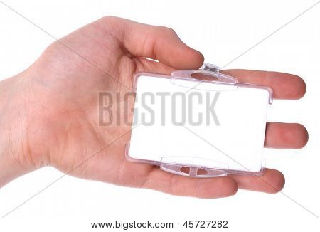 hand holding blank card, isolated on white