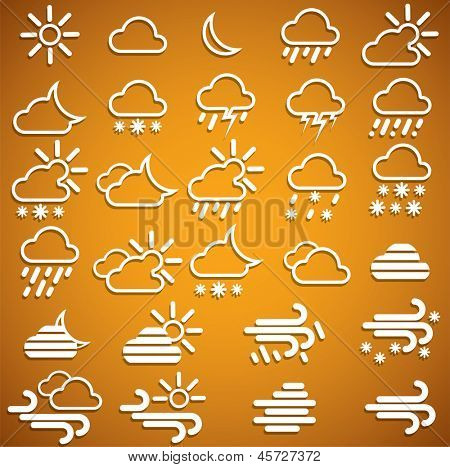 Weather Icons Set on orange background. eps10. Image contain transparency and various blending modes