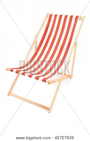 Studio shot of a sun lounger with orange stripes, isolated on white background