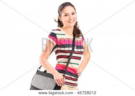 Female college student with a shoulder bag isolated on white background