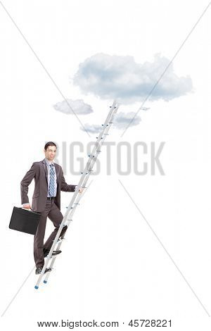 Full length portrait of a businessman climbing a ladder towards clouds, isolated on white background