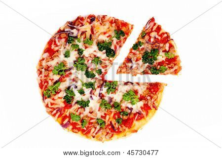 Pizza with the cut off slice on a white background