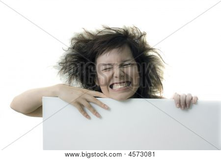 Girl With Blank Banner