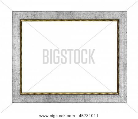 Silver arts pattern picture frame isolated on white with clipping path