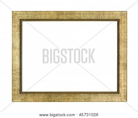 Gold arts pattern picture frame isolated on white with clipping path
