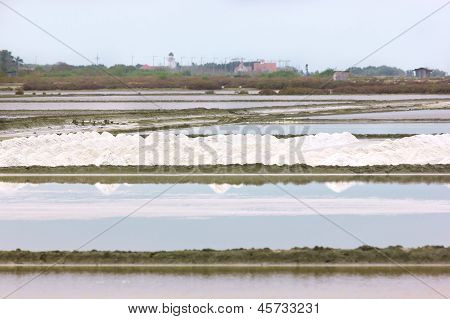 saline in evening at  Samutsakorn, Thailand